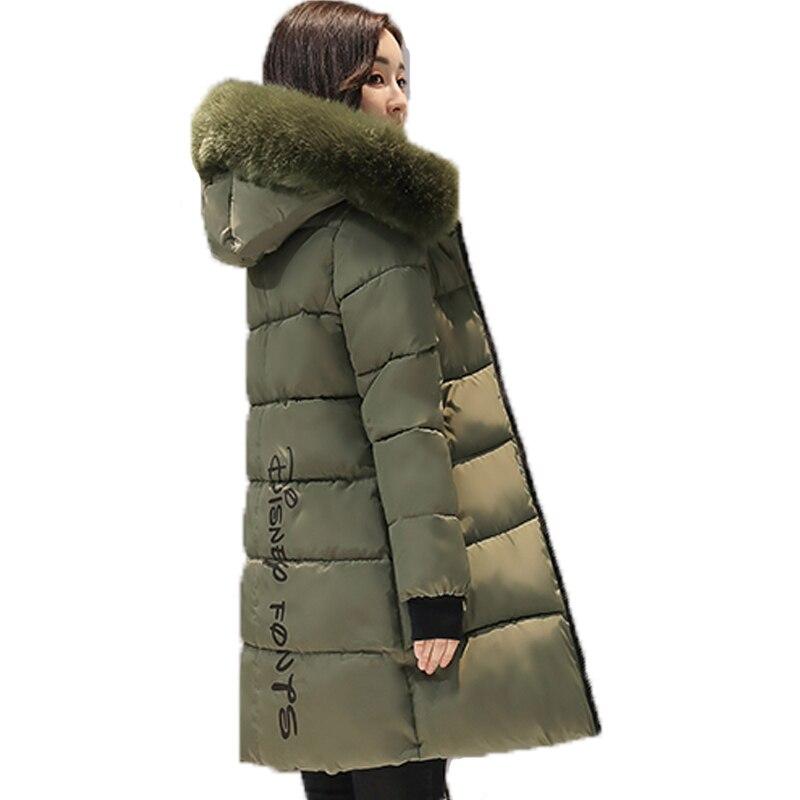 2017 새로운 대형 모피 칼라 겨울 코트 여성 레터 슬림 두꺼운 따뜻한 코튼 파커 중형 후드 casaco feminino inverno-에서파카부터 여성 의류 의  그룹 3