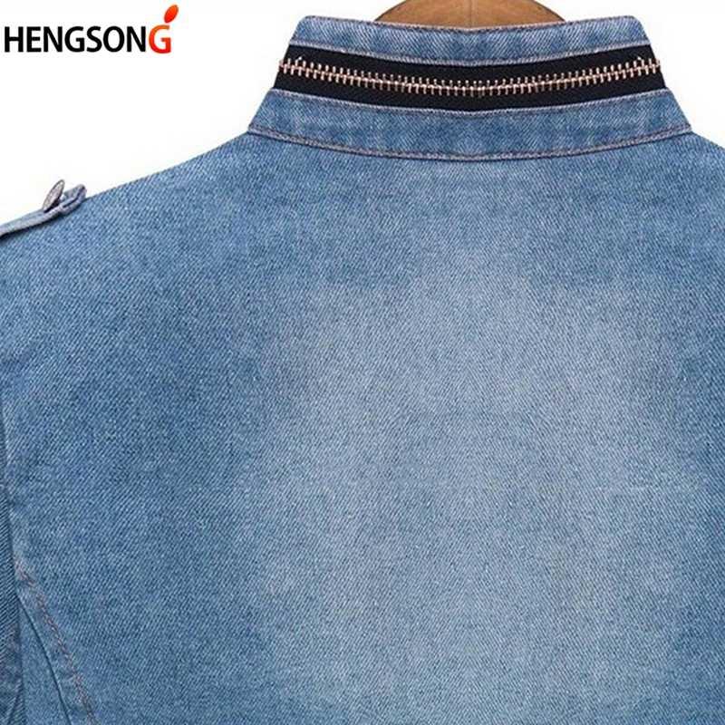 HENGSONG Plus rozmiar 5XL kurtka dżinsowa kobiety moda jesień z długim rękawem dżinsy płaszcz kobiet dorywczo kurtka dżinsowa topy tee streetwear