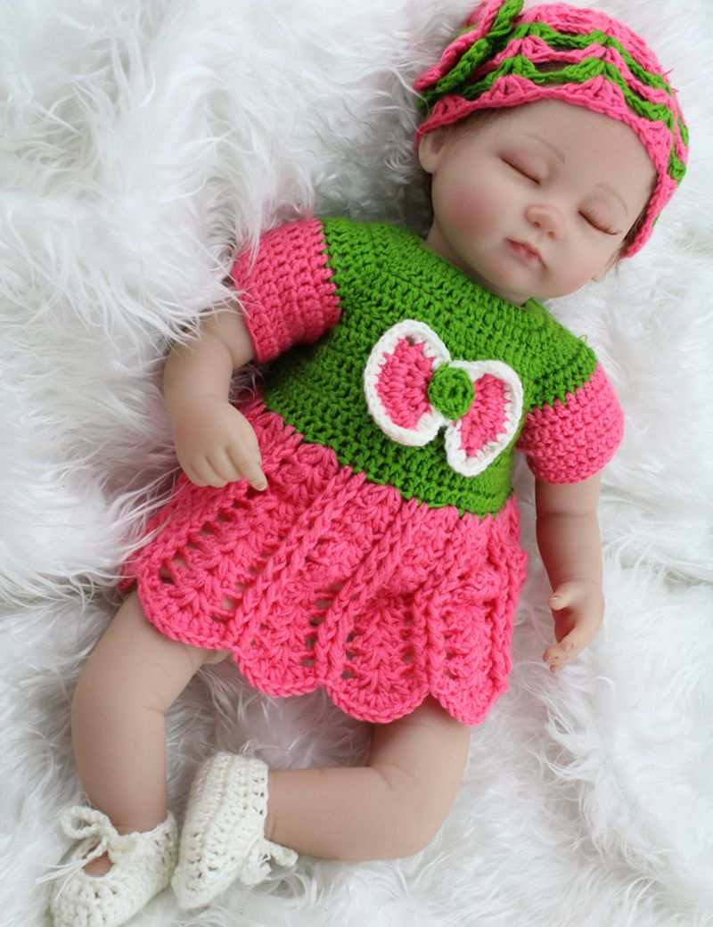 "ФОТО 17"" real life sleep baby silicone reborn doll living girl in crochet dress for kids interactive toy gifts"