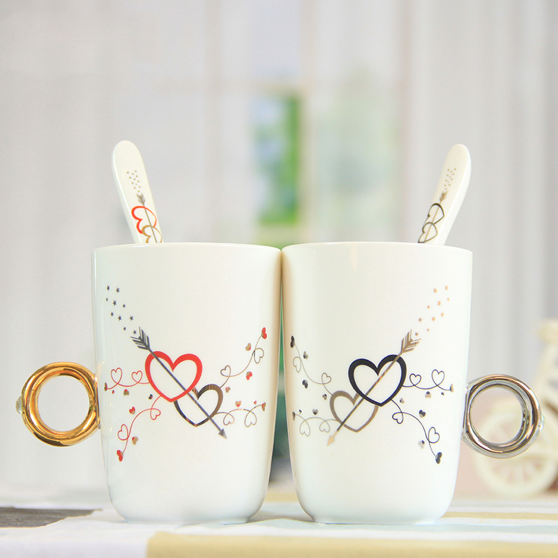 Cheap and practical birthday couple <font><b>cups</b></font> wholesale coffee mugs to <font><b>celebrate</b></font> the marriage gift stylish