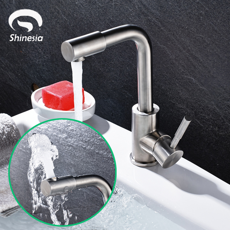 Free Shipping Stainless Steel Bathroom Sink Faucet Single Handle 360 Degree Rotating Spout Basin Mixer Tap Deck Mounted ems free shipping 3d photo shop display rotating turntable 360 degree mannequin photography stand