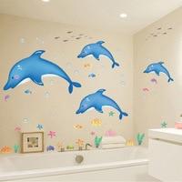 Waterproof Blue Dolphin Bathroom Decorative Kids Wall Sticker Carton Animal Children Baby Bedroom Decoration Wall Art