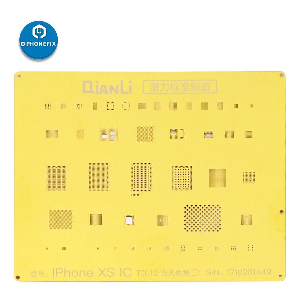 PHONEFIX QianLi Golden BGA Reballing Stencil Template 2D Steel Mesh For IPhone 6 7 8 XS NAND CPU Motherboard Soldering Repair