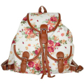 Vintage Retro Rose Floral Printing Backpack Women's Canvas Travel Backpack for Teenage Girls Rucksack