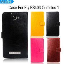 AiLiShi Leather Case For Fly FS403 Cumulus 1 Case Book Style Flip Cover Phone Bag Wallet With Card Slot Tracking Number(China)