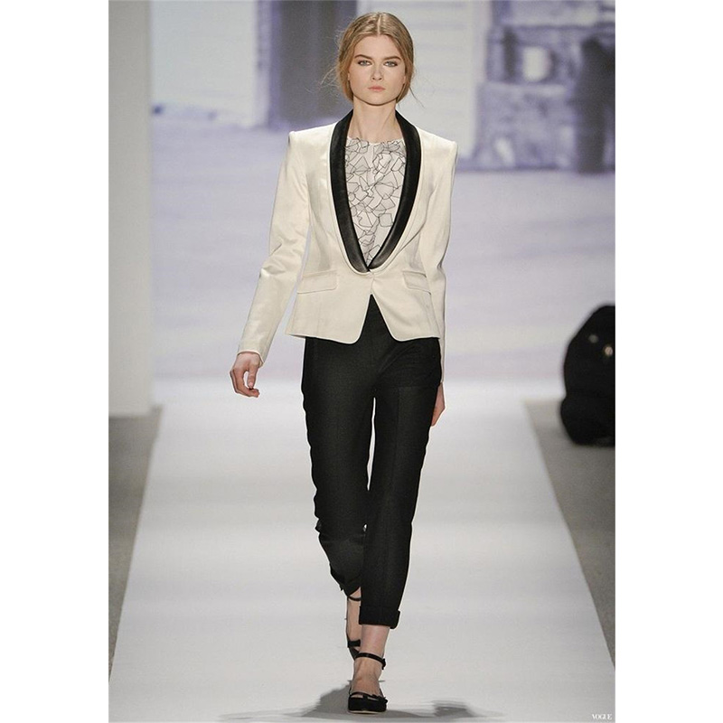 Ivory Womens Business Suits Jacket Black Lapel Formal Pant Suits For Weddings Tuxedo Female Office Uniform Lady Trouser Suit