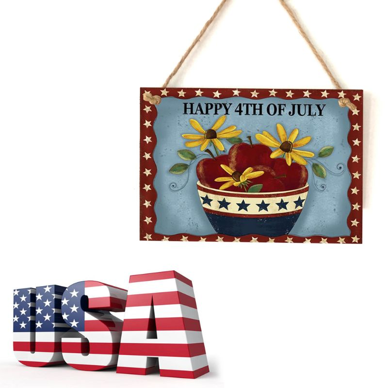 Image 2 - Vintage Wooden Hanging Plaque Happy 4th Of July Flower Sign Board Wall Door Home Decoration Independence Day Party Gift-in Plaques & Signs from Home & Garden