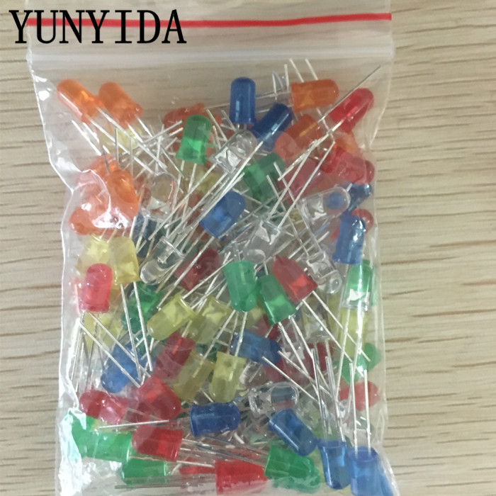 120pcs 6color X 20pcs  5mm   LED Light Assorted Kit DIY LEDs Set White Yellow Red Green Blue Orange