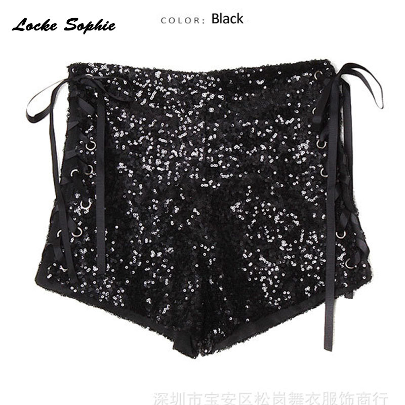 1pcs High waist Women 39 s Sexy super shorts 2019 Summer cotton Sequins Splicing Bandage shorts Ladies Skinny club super shorts in Shorts from Women 39 s Clothing