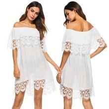 2526050b70db9 Women Tunic Beach White Cotton Slash Off The Shoulder Sexy Lace Mini Dress  Swim Suit Cover Up Casual Summer Beachwear Sarong A29