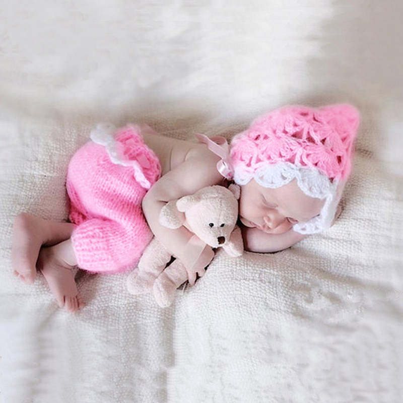 Newborn photography props infant pink <font><b>clothes</b></font> knitted hat with pants shooting <font><b>baby</b></font> <font><b>photo</b></font> prop fotografie accessories <font><b>new</b></font> <font><b>born</b></font> image