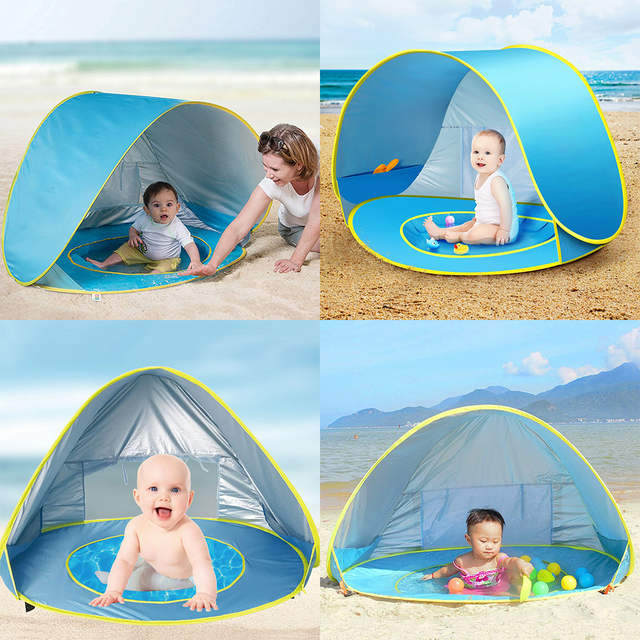 the latest 0491e 9f514 US $16.14 40% OFF|Baby Portable Outdoor Beach Tent Summer Uv protecting  Shelter Children Beach Pool Playing House Waterproof Pop Up Awning Tents-in  ...
