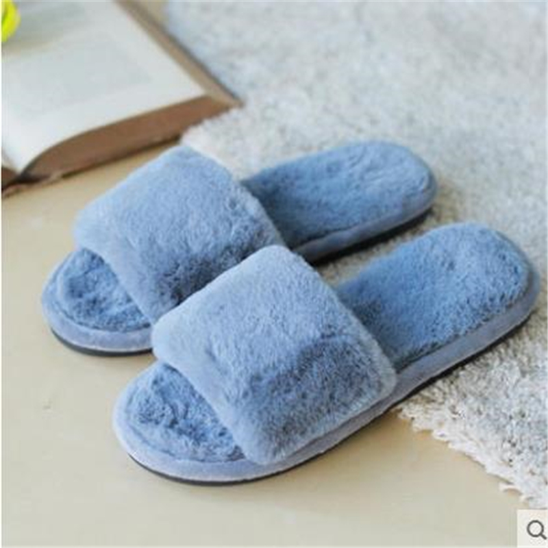 36-41Fashion Winter Fur Flat Shoes Woman Sandals Winter Flip Flops Ladies Solid Sandals For Women Slip On Home Slippers Black plush winter slippers indoor animal emoji furry house home with fur flip flops women fluffy rihanna slides fenty shoes