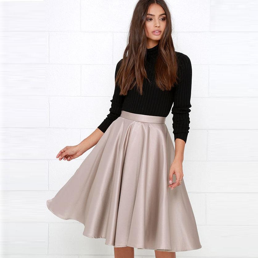 Preppy Style Midi Satin Skirt Zipper Style Nude Color Women Bottom Knee Length Female Skirt Custom Made Female Saias 2018