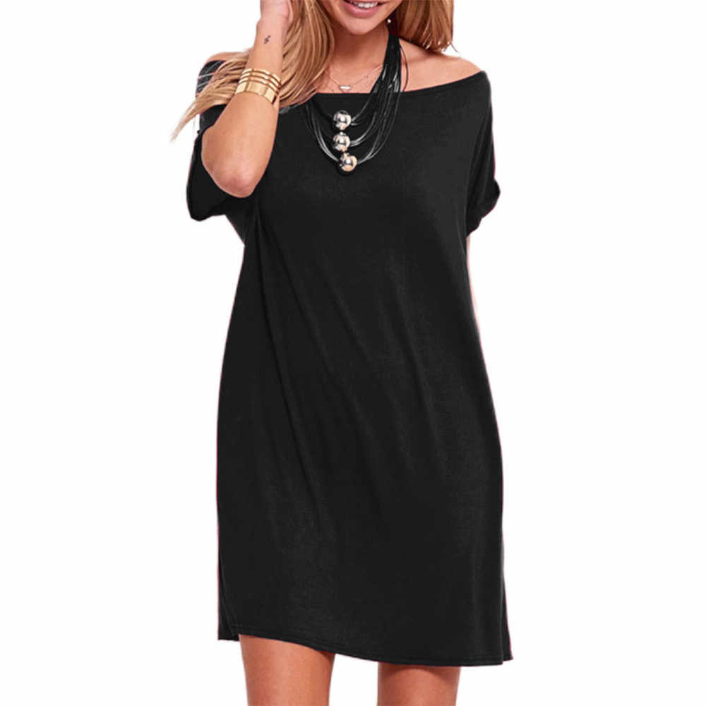 ZHDAOR Summer NEW Fashion Women's Plus Size Casual Empire Solid Cold Shoulder Short-Sleeve Straight Dress Night Wear Freeship N4