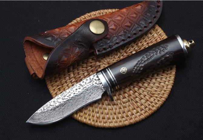 TRSKT Damascus Collection Knife ,Steel + Ebony Handle, 60Hrc, With Leather Sheath ,Hunting Survival Outdoor Knives Camping tool damascus steel blade ebony handle outdoor camping knife portable survival hunting knives with leather sheath knives fixed blade