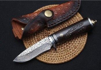 Trskt 다마스커스 컬렉션 나이프, 스틸 + 에보니 핸들, 60hrc, 가죽 외장, 사냥 서바이벌 야외 나이프 캠핑 도구