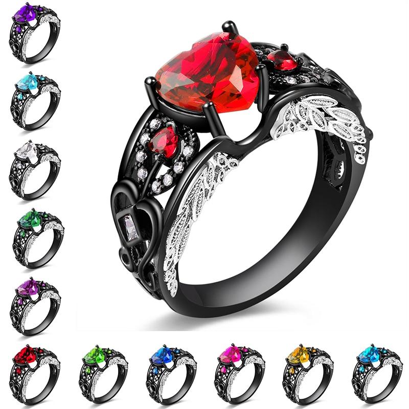 AMORUI Asas de Anjo Anéis De Casamento Preto para Senhoras/Mulheres Moda AAA Zircon Pedra Anel de Noivado Presente Do Partido Dropshipping