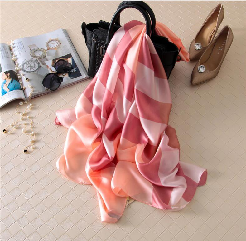 British Plaid Silk Square Scarf Brand Women Shawls font b Tartan b font Beach Wrap New