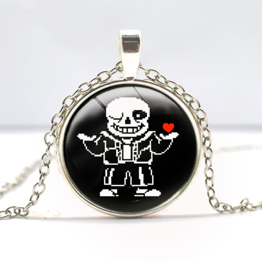 Fashion Handmade Undertale Sans Bad Time Game Gaming Necklace Brass Silver Plated Pendant Steampunk Jewelry