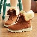 Mulheres Inverno Botas de Neve Curto Botas Grossas de Algodão-Acolchoado Cor Sólida Plana Calcanhar Lace-Up Sapatos Casuais