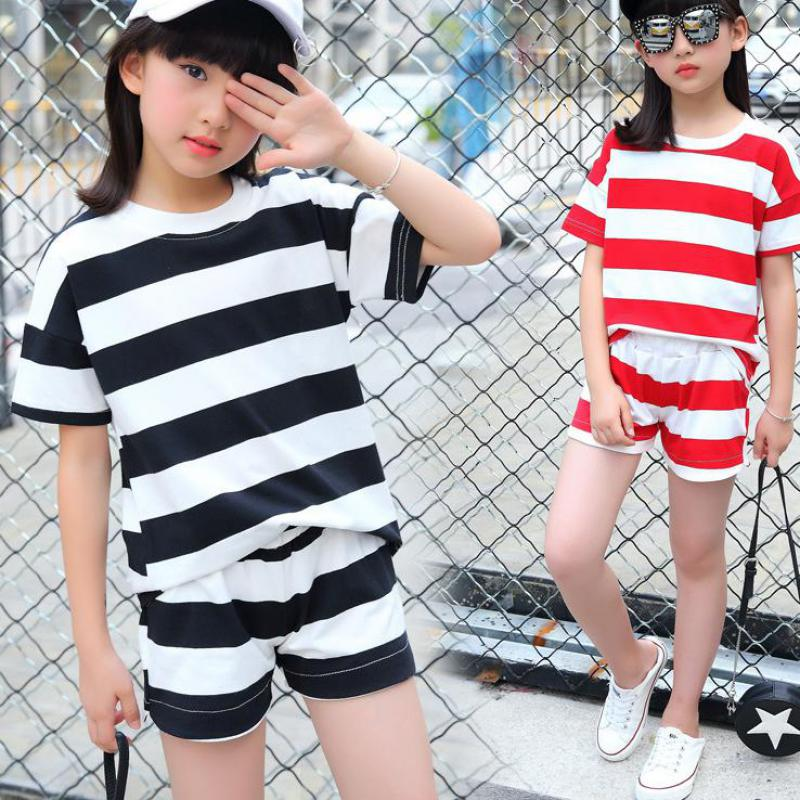 Children Sports Suit Toddler Girls Clothes Kids 2pcs Outfit Baby Girls Clothing Sets Outfits Striped T-shirts + Pants 10 12 Year toddler boys clothing sets girls outfits striped panda t shirts & overalls 2pcs baby girls tees infants clothes boys pants 9m 4y