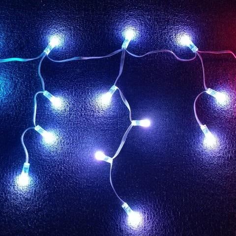 individualmente rgb cor cheia icicles string dc12v ws2811 controlado todo o fio branco ip68 60