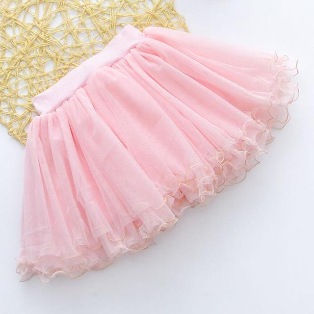 2016 children gauze skirts summer new bright beads golden secret side bow girls short skirt