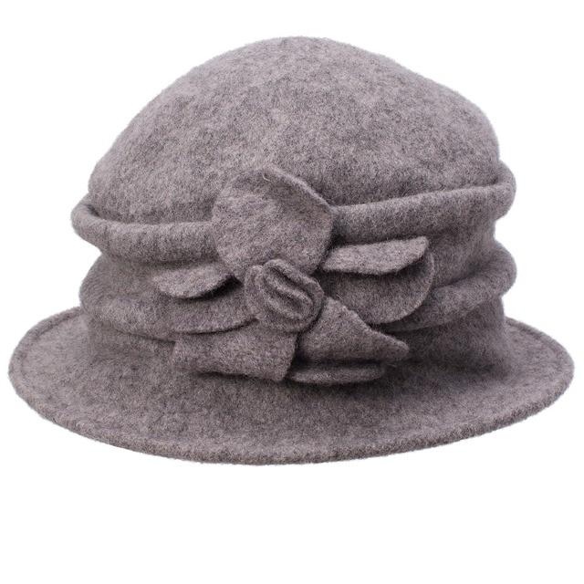 Women Beanies Ladies Winter Wool Cap Cloche Crochet Bucket Hat Solid Church  Hat Warm Winter Wool Hat Female Skullies Gorro 6654a937918