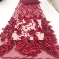 New Design 3D Flowers In Pink French Lace Fabric 2019 High Quality Lace Net African Lace Fabric With Beads Lace Fabric For Dress