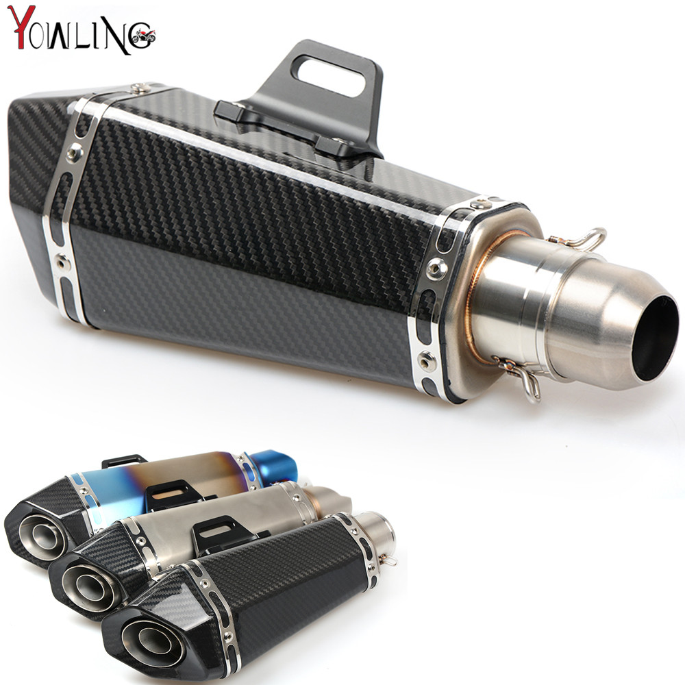 51mm Real Carbon Fiber Motorcycle Exhaust Pipe Motocross Muffler with DB KILLER CB400 CBR for kawasaki Z800 Z750 ER6R motoo 51mm real carbon fiber stainless steel motorcycle exhaust pipe motocross muffler with db killer