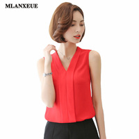 Sexy Deep V Collar Chiffon Blouse 2017 Casual Sleeveless Solid Color Summer Tops Elegant Lady Fashion Slim Blouse Women Shirt
