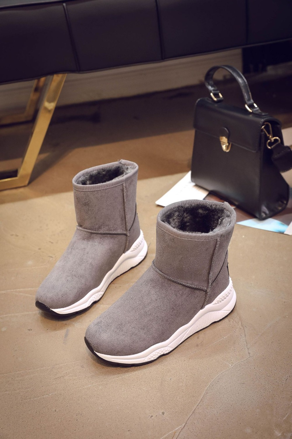 Winter Snow Boots Women Casual Shoes Slip On Warm Plush Women Ankle Boots Flat Heel Sport Ladies Shoes Booties Botas Mujer XZ82 (21)