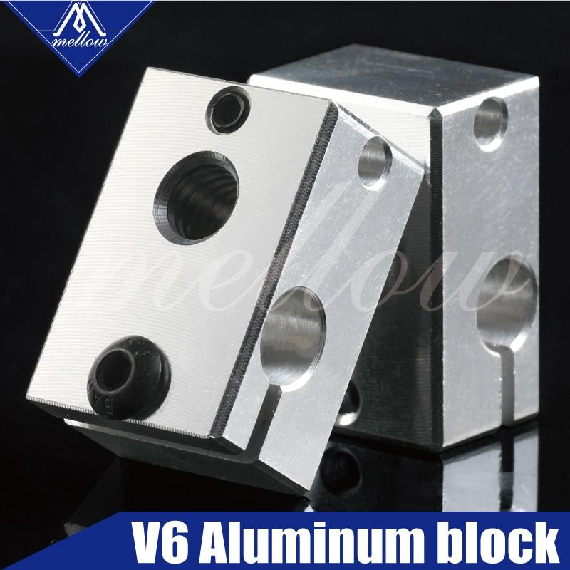 1Pcs Aluminum V6 Heater Block HotEnd For PT100 Sensor Cartridge Themocouple&Thermistor For 3D Printer Extruder Hot End Parts Kit
