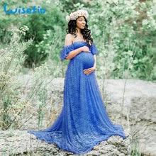 임신 여성을위한 Wisefin 출산 맥시 복장 2018 여름 레이스 출산 드레스 사진 임신 사진 촬영 소품