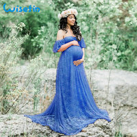 Wisefin Maternity Maxi Dresses For Pregnant Women 2018 Summer Lace Maternity Dress Photography Pregnancy Photography Props P30