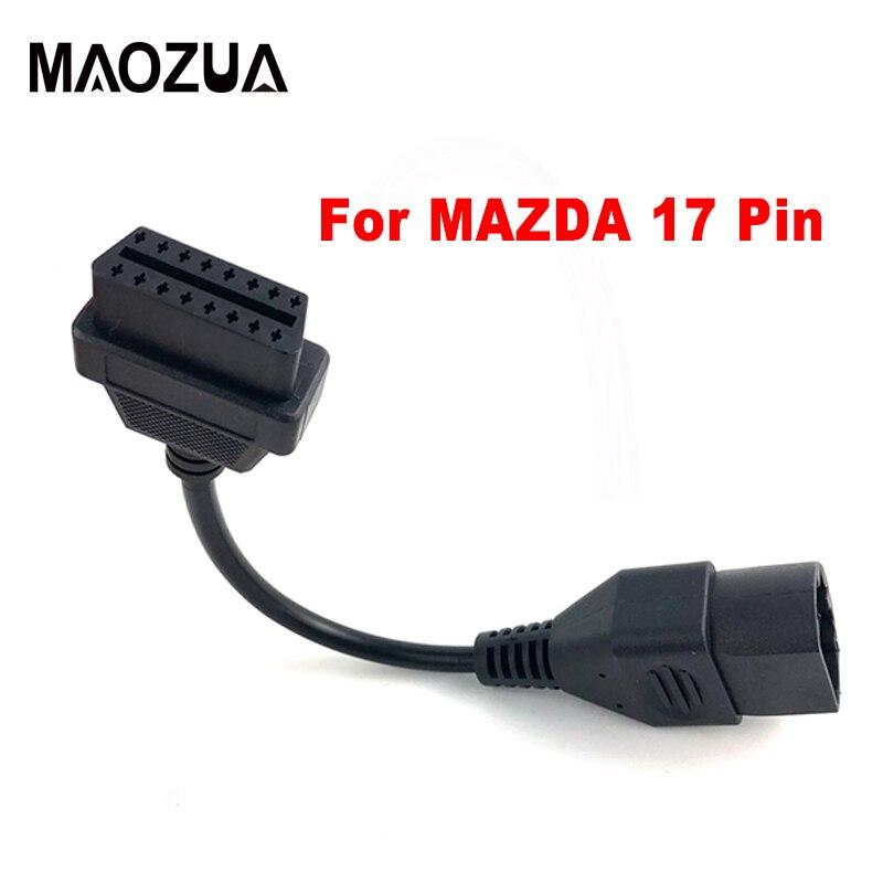 Maozua For Mazda 17Pin To 16Pin OBD OBD2 Cable Connector Cable For Mazda 17 Pin OBDII Connect Adapter