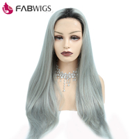Fabwigs Brazilian Glueless Full Lace Human Hair Wigs With Baby Hair 1B Grey Silky Straight Ombre