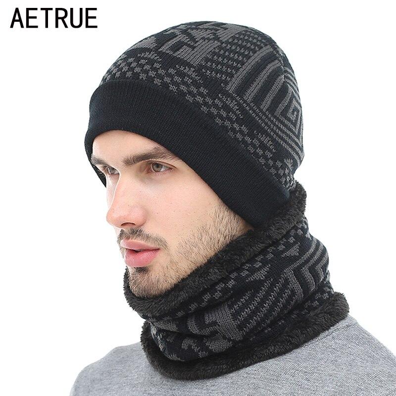 AETRUE 2018 Skullies Beanies Winter Knitted Hat Beanie Scarf Men Winter Hats For Men Women Caps Gorras Bonnet Mask Brand Hats