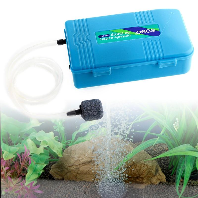 NEW Aquarium Battery Operated Fish Tank Air Pump w/Air stone Aerator Oxygen Portable