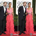 Newest Red Carpet Dresses Floor Length A Line Ruffle Tiered Pink Chiffon Golden Globe Awards 2017  Celebrity Dresses Zoe Saldana