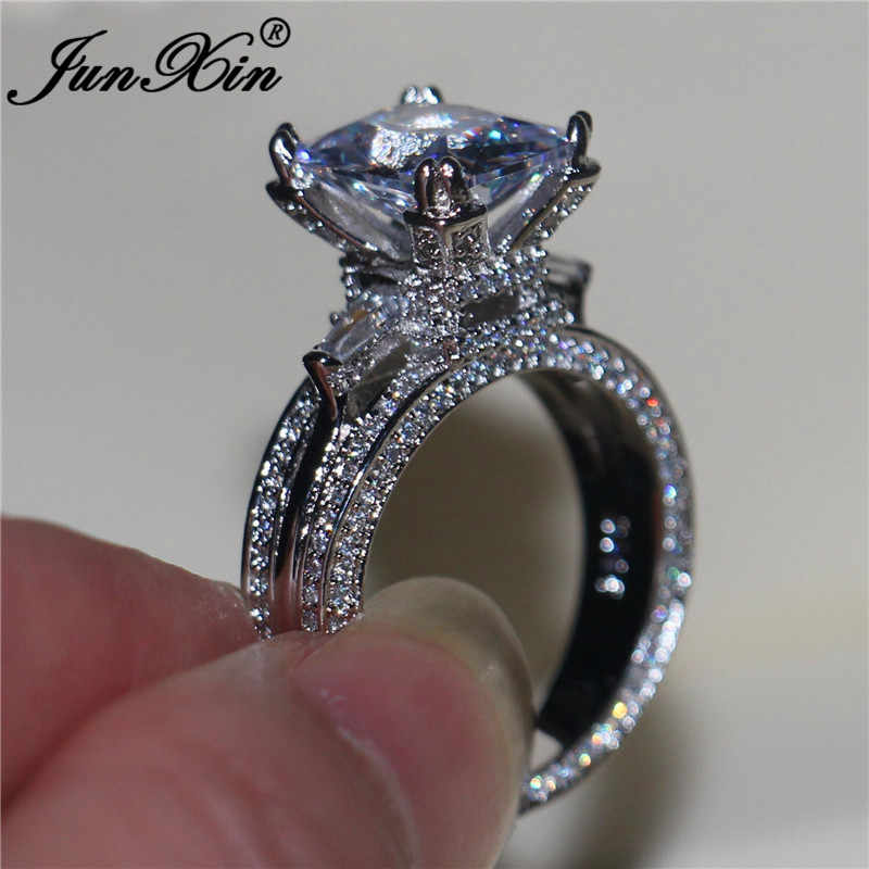 Boho Female White Zircon Ring Set Fashion 925 Silver Love Engagement Ring Vintage CZ Wedding Rings For Women