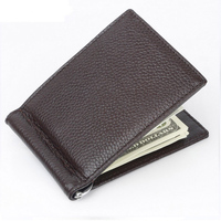 High Quality Genuine Leather RFID Money Clip Wallet Slim with Metal Money Holder Magnet Hasp Clips Pocket Purse Money Clamp