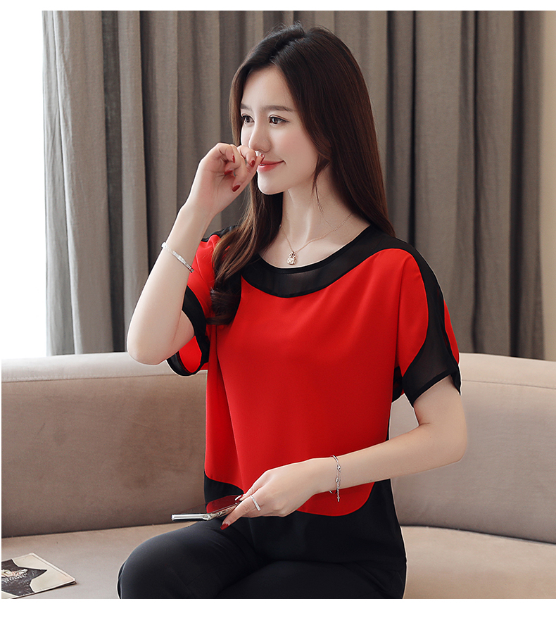 HTB18Nn5PXzqK1RjSZFCq6zbxVXaF - blusas mujer de moda chiffon blouse plus size ladies tops shirts Solid Short O-Neck Batwing Sleeve women blouse 3397 50