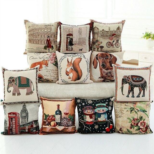 Cotton Sofa Cushions, Animal Office Seats, Lumbar Support Pillow, Landscape  Car Washable Cushions