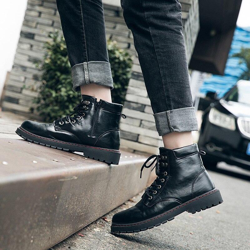 Macio Até 1 Inverno black Segurança Moda Botas Rendas Sapatos Couro 2019 Martin Black Homens Para Militares Trabalho Novas 2 Dos Masculina De AxZZn1