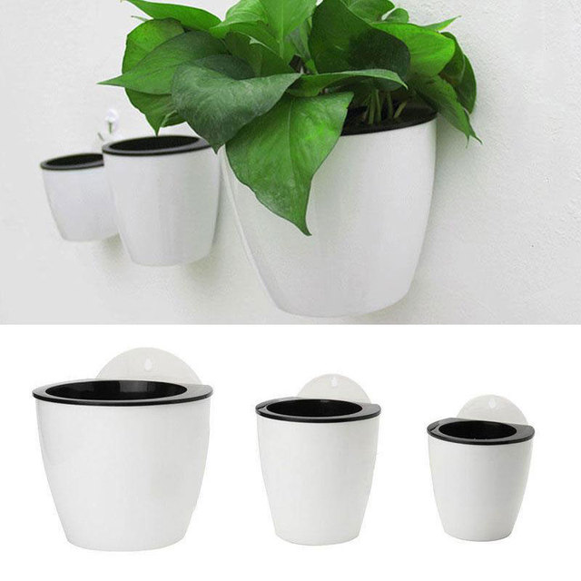 Automatic Water Absorption Plant Flower Pot Wall Hanging Vertical ...