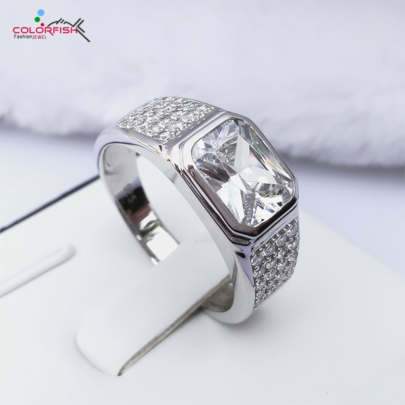 COLORFISH Brand 2 5 Ct Square Mens Rings Center Stone Bezel Set SONA Simulated Solid 925