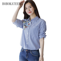 BOBOKATEER Embroidery Striped Blusas Feminina Ver O 2017 Long Sleeve Casual V Neck Top Blouse Shirt