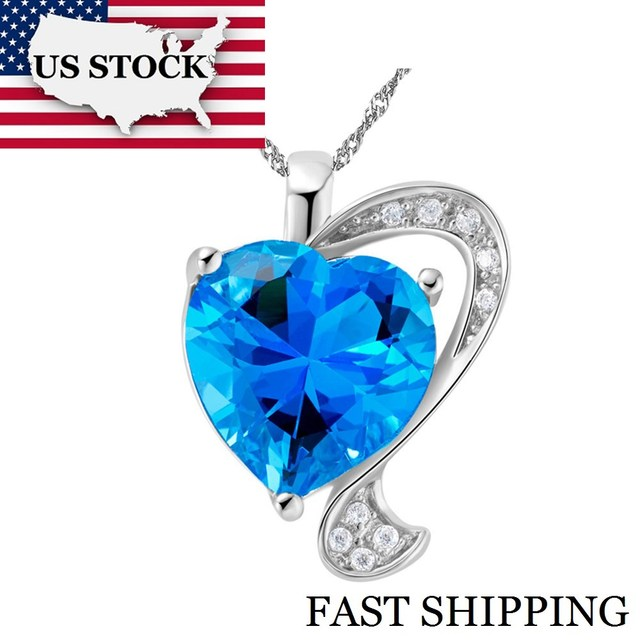 USA STOCK Uloveido Love Heart Crystal Heart Necklaces Blue Pendants Women Wedding Accessories Collares Populares Silver N855